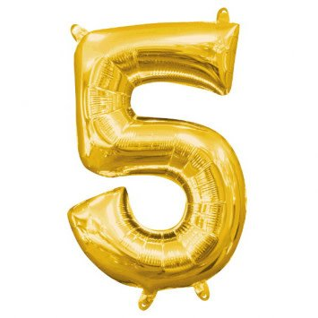 """Air-Filled Number """"5""""- Gold 16"""" Balloon"""