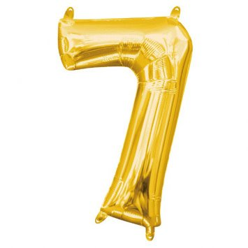 "Air-Filled Number ""7""- Gold 16"" Balloon"