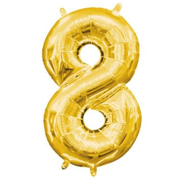 """Air-Filled Number """"8""""- Gold 16"""" Balloon"""