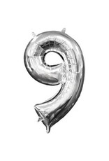 "Air-Filled Number ""9""- Silver 16"" Balloon"