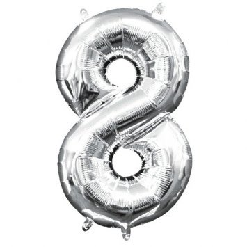 "Air-Filled Number ""8""- Silver 16"" Balloon"