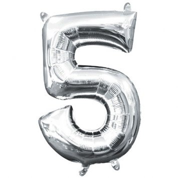 "Air-Filled Number ""5""- Silver 16"" Balloon"