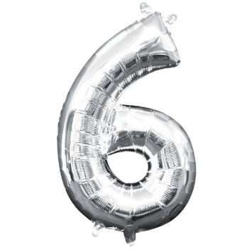 """Air-Filled Number """"6""""- Silver 16"""" Balloon"""