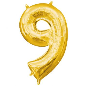"""Air-Filled Number """"9""""- Gold 16"""" Balloon"""