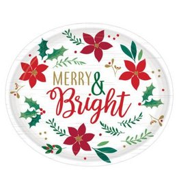 """Christmas Wishes Oval Plates, 12"""" (8)"""