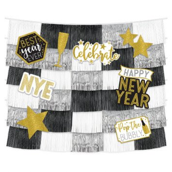 New Year's Fringe Backdrop With Cutouts