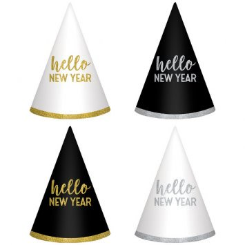 New Year's Cone Hats - Black, Silver, Gold (6)