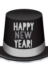 Happy New Year Top Hat - Black/Silver