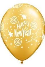 "11"" Printed New Years Swirl Star Balloon 1 Dozen Flat"