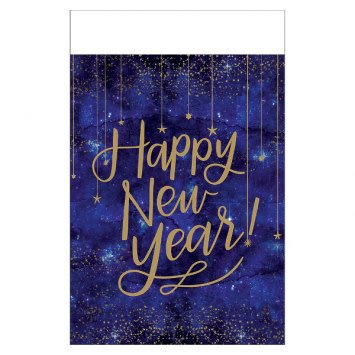 Midnight New Year's Eve Metallic Plastic Table Cover