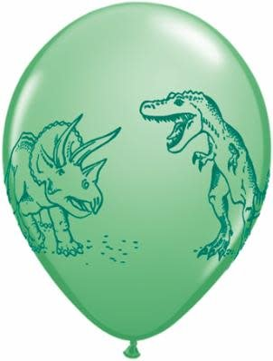 "11"" Printed Dinosaurs in Action Balloon 1 Dozen Flat"