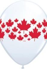 """11"""" Printed Maple Leaf Around Balloon 1 Dozen Flat"""