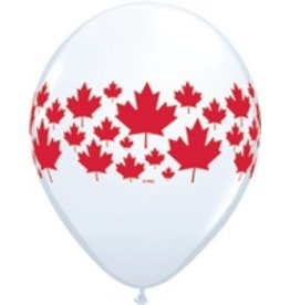 "11"" Printed Maple Leaf Around Balloon 1 Dozen Flat"