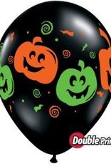 "11"" Printed Black Jack Faces Balloon 1 Dozen Flat"