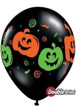 "11"" Printed Black Jack Faces Balloon 1 Dozen Flat"