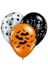 "11"" Printed Assorted Spooky Design Balloon 1 Dozen Flat"