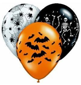 "11"" Printed Assorted Spooky Design Balloon 1 Dozen Flat"
