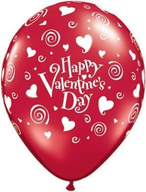 "11"" Printed Valentine's Ruby Red Swirling Hearts Balloon 1 Dozen Flat"
