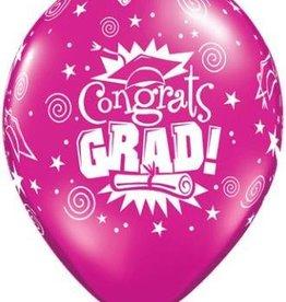 "11"" Printed Jewel Congrats Grad Balloon 1 Dozen Flat"