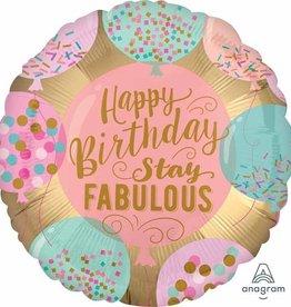 "Birthday Stay Fabulous 18"" Mylar Balloon"
