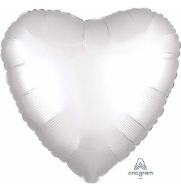 "White Heart Satin Luxe 18"" Mylar Balloon"