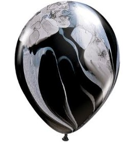 """11"""" Superagate Black and White Balloons 1 Dozen Uninflated"""
