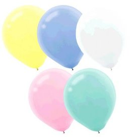 Assorted Pastel Solid Colour Latex Balloons, (15)