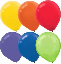 Assorted Solid Colour Latex Balloons, (15)