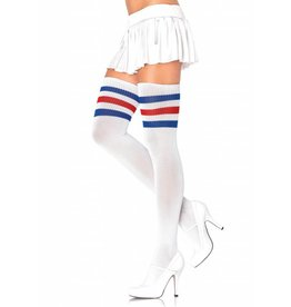 Athletic Ribbed 3 Stripe Thigh Highs