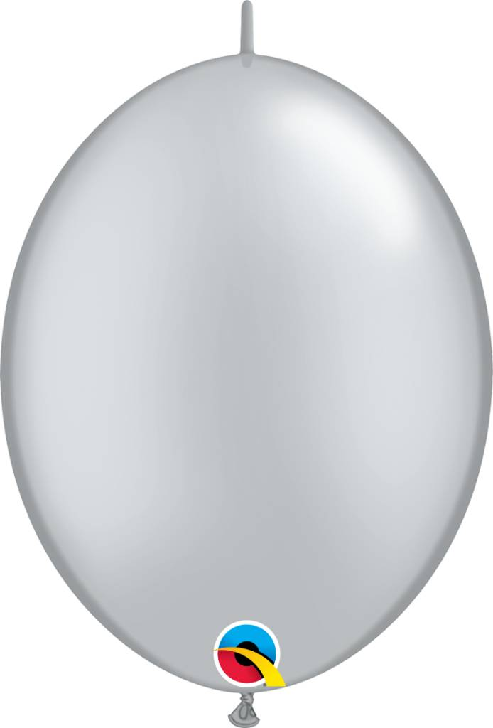 "12"" Silver Linking Balloons 1 Dozen Flat"