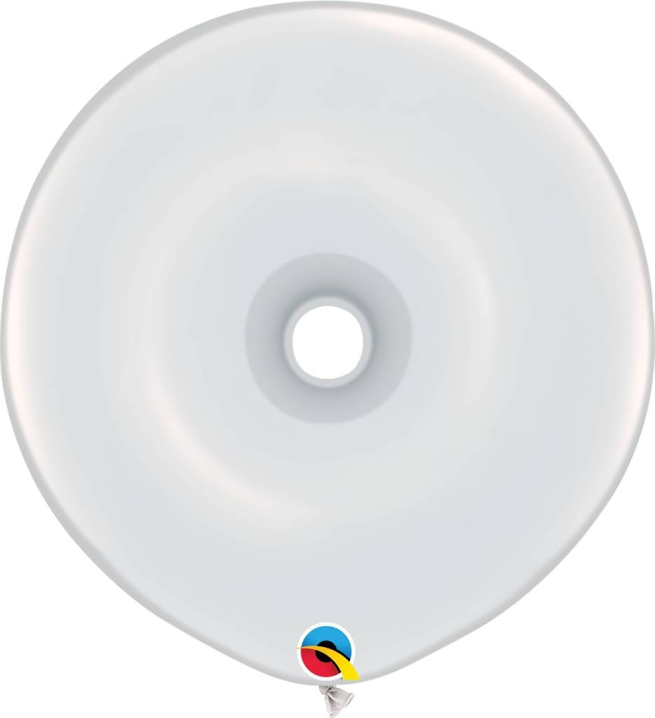 "16"" Geo Donut White Balloon Flat"