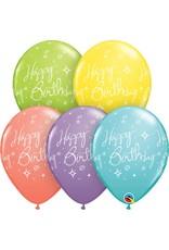 "11"" Printed Birthday Elegant Sorbet Balloons 1 Dozen Flat"