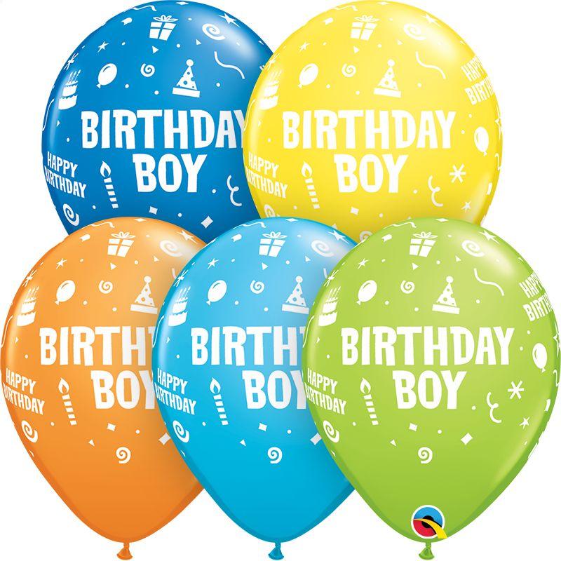 "11"" Printed Birthday Boy Balloon 1 Dozen Flat"