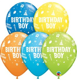 "11"" Printed Birthday Boy Balloon 1 Dozen Flat"