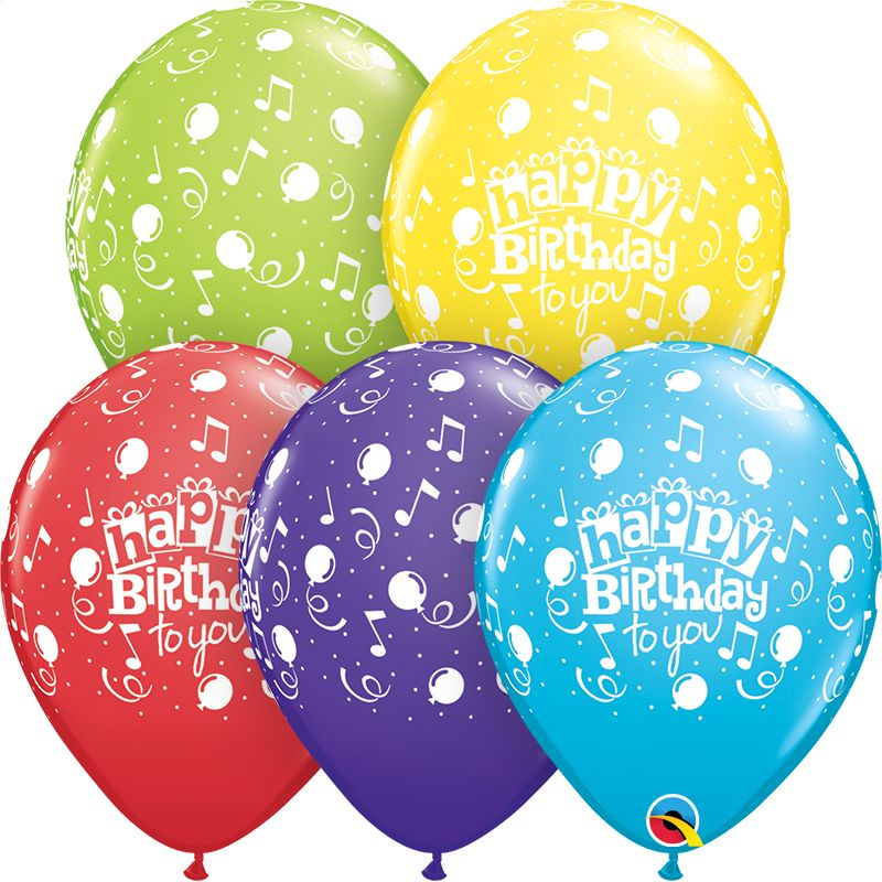 """11"""" Printed Happy Birthday To You Balloons 1 Dozen Flat"""