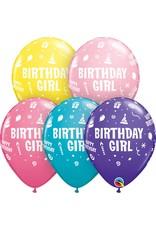 "11"" Printed Birthday Girl Balloon 1 Dozen Flat"