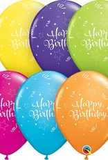 "11"" Printed Birthday Shining Star Balloons 1 Dozen Flat"