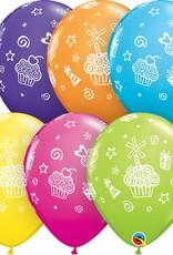 "11"" Printed Cupcakes & Presents Balloons 1 Dozen Flat"
