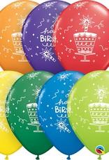 "11"" Printed Birthday Cake & Candles Balloons 1 Dozen Flat"
