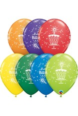 "11"" Printed Birthday Cake & Candles Balloons 1 Dozen Flat"