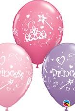 "11"" Printed Princess Balloons 1 Dozen Flat"