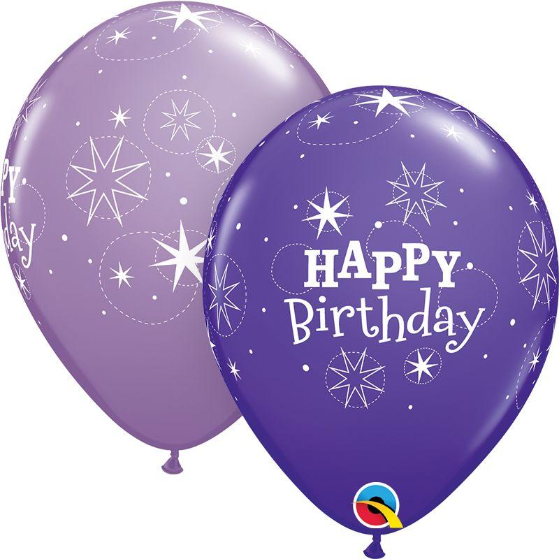"11"" Printed Birthday Sparkle Purple Violet & Spring Lilac Balloons 1 Dozen Flat"