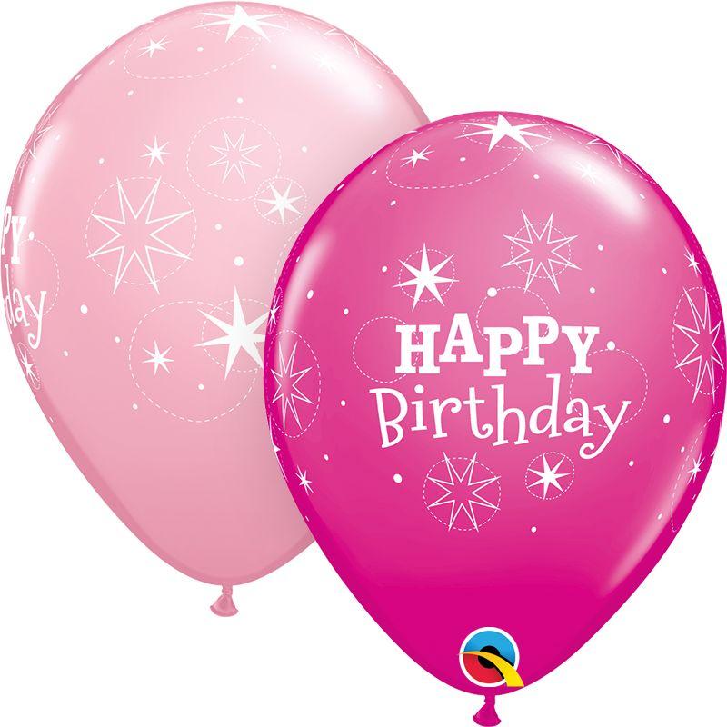 "11"" Printed Birthday Sparkle Pink & Wild Berry Balloons 1 Dozen Flat"