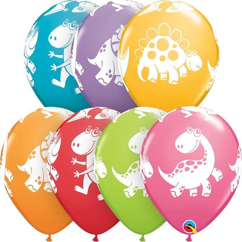 "11"" Printed Cute & Cuddly Dinosaurs Balloon 1 Dozen Flat"