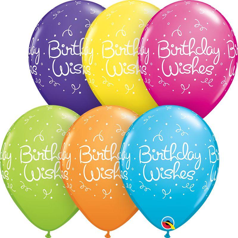 "11"" Printed Birthday Wishes Balloon 1 Dozen Flat"