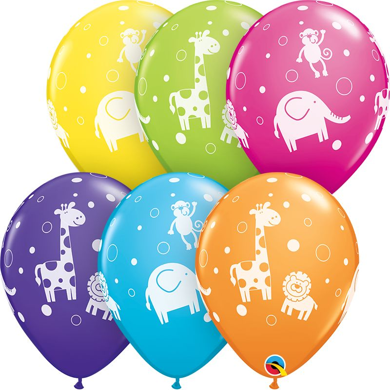 "11"" Printed Cute & Cuddly Jungle Animals Balloon 1 Dozen Flat"