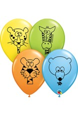 "11"" Printed Jungle Animals Balloon 1 Dozen Flat"