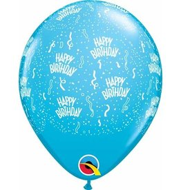 "11"" Printed  Birthday Around Robin's Egg Blue  Balloons 1 Dozen Flat"