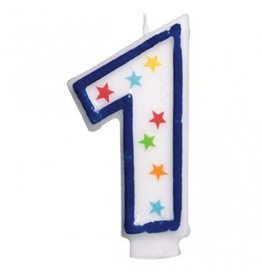 #1 Birthday Star Flat Molded Candle