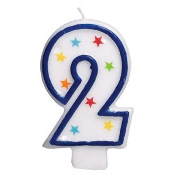 #2 Birthday Star Flat Molded Candle